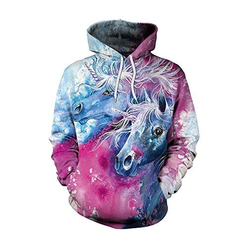Pnizun - Unicornio Sudaderas Impresas en 3D Hiphop Kawaii Unicornio con Capucha Mujeres de la Camiseta [ XXL]