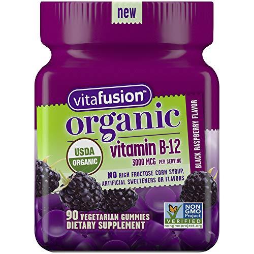 Vitafusion Organic B12 Gummy Vitamin, 90 Count - Non-GMO, Gluten-Free, No Gelatin, No HFCS