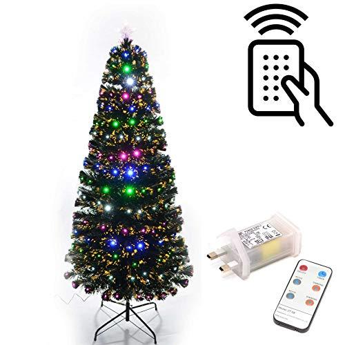 Shatchi 6052-LED REMOTE-TREE-122 cm LED kerstboom met lampjes, verlicht, afstandsbediening, 8 verschillende effecten, kerstdecoratie, 120 cm, groen