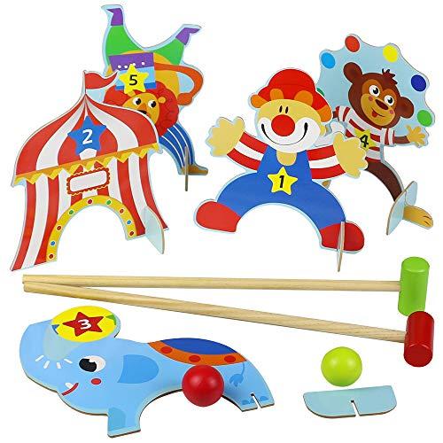 Akokie Animales Juguetes Juego de Croquet Juguetes de Madera Juguetes de Golf con 2 Bolas Regalo Juegos Educativos Niños 3 4 5 6 7 años