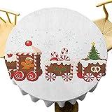 VICWOWONE Mantel de Navidad - Mantel redondo de 70 pulgadas adornado Navidad protección mesa tren con jengibre crema caramelo dibujos animados juguetes copos de nieve regalos blanco marrón bermellón