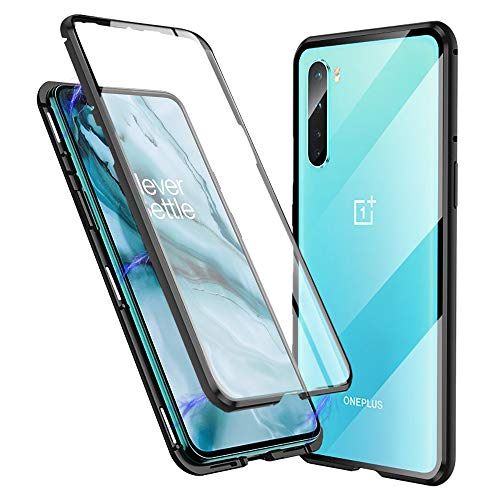 Compatible with Oneplus Nord Case, Jonwelsy 360 Degree Front and Back Transparent Tempered Glass Cover, Strong Magnetic Adsorption Technology Metal Bumper for 1+Nord (Black)