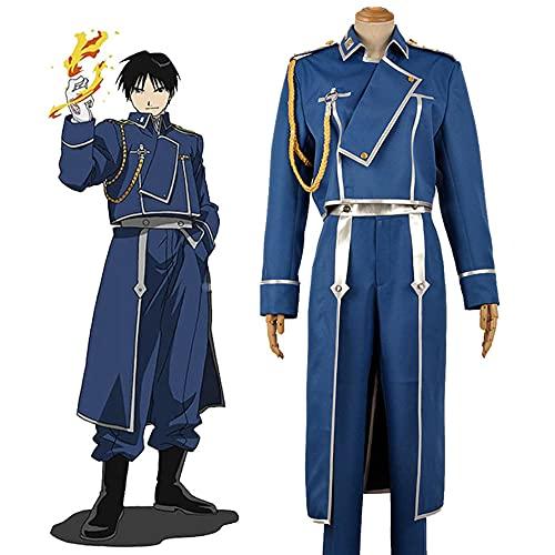 Anime FullMetal Alchemist Roy Mustang Maes, disfraz de Cosplay, trajes para hombres adultos, uniforme del ejército, pantalones superiores, guantes, Halloween