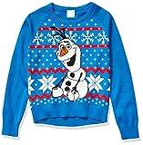 Disney Girls' Ugly Christmas Sweater, Olaf/Blue, X-Large (14/16)