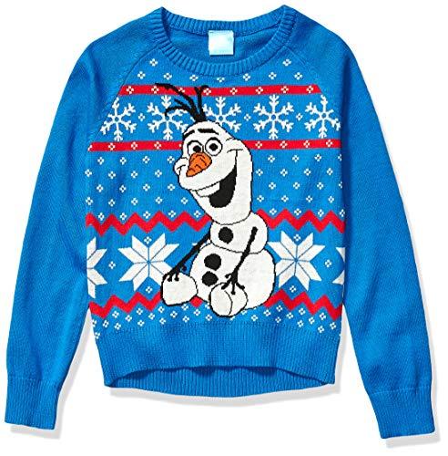 Disney Girls' Ugly Christmas Sweater, Olaf/Blue, Large (10/12)