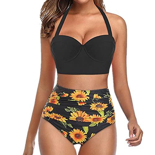 Conjunto de bikini para mujer, traje de baño de dos piezas, talla grande, playa, Negro, 5XL