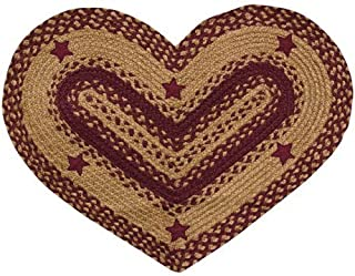 BCD Heart Shaped Woven Jute Rug with Appliqué Stars Wine Red Tan Country Primitive Décor