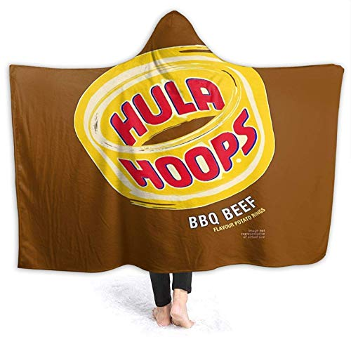 XCNGG Kapuzendecke Hooded Blanket Throw Hula Hoops BBQ Beef Crisps Design Super Soft Sherpa Fleece Blanket Hood Poncho Cloak Cape
