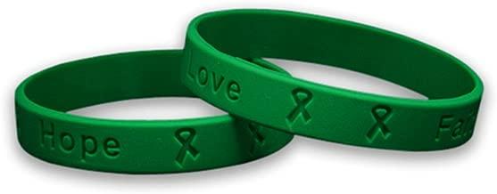 50 Pack Green Awareness Silicone Bracelets - Adult Size (Wholesale Pack - 50 Bracelets)