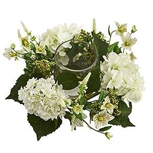 Silk Flower Arrangements Nearly Natural 4214 Hydrangea Artificial Arrangement Candelabrum, White