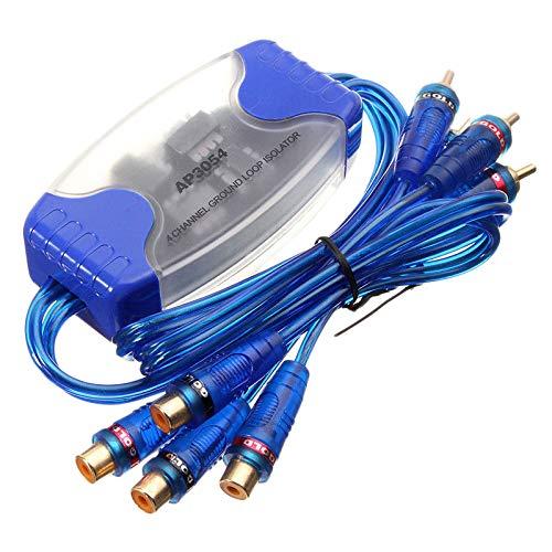 Cobeky Filtro de ruido de audio Rca de 4 canales, aislador de bucle de tierra, estéreo de coche, 50 W