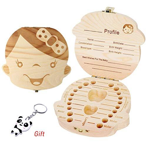 pengxiaomei Holz Baby Zähne Save Box, Baby Kinder Milk Zähne Memory Storage Boxen (Mädchen)