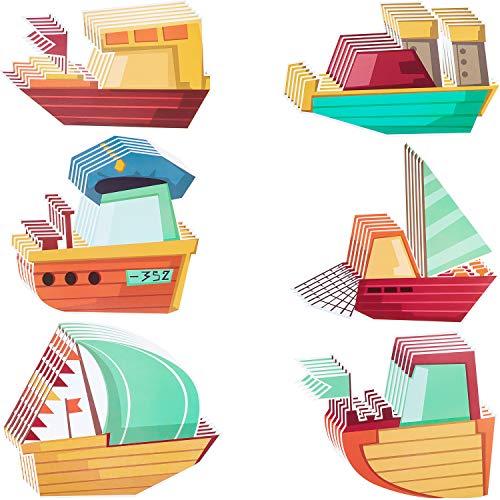 60 Piezas Recortes en Veleros Mini Recortes Adorables con 60 Puntos de Pegamento para Niños Dormitorio Aula Tablón de Anuncios Decoración de Pared, 6 x 5 Pulgadas