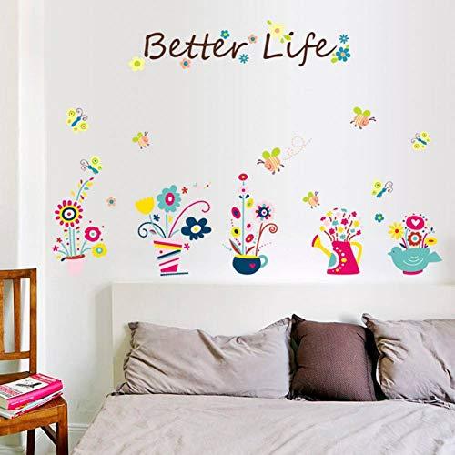 MMLFY Muursticker Leuke bloem pot vlinder bij muur stickers kinderkamer baby slaapkamer kast diy verwijderbare pvc decoratieve stickers