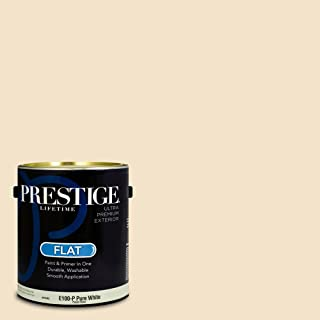 Prestige Paints E100-P-SW6658 Exterior Paint and Primer in One, 1-Gallon, Flat, Comparable Match of Sherwin Williams Welcome White, 1 Gallon, SW78-Welcome