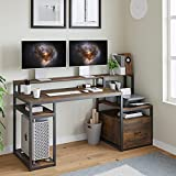 Sedeta Home Office Desk with File Drawer, 66'' Large Computer Desk with Hutch, Storage Shelves, Printer Cabinet and Monitor Shelf, Computer Table Study Writing Desk Workstation, Rustic Brown