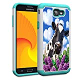 Galaxy J7 V 2017 1st Gen/J7 2017/7 Prime/J7 Perx/J7 Sky Pro/Galaxy Halo Case,Skyfree Heavy Duty Dual Layer Bumper Protective Phone Case for Samsung Galaxy J7 2017,Colorful Cow