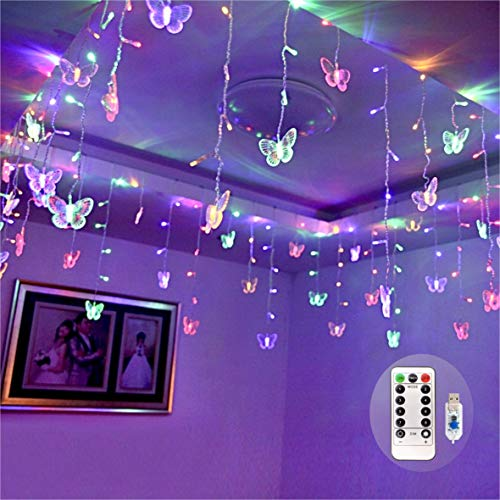 Butterfly Curtain Fairy Lights USB Plug in,8 Modes 120 LED 14.7FT Firefly Twinkle Timer String Lights with Remote, Waterproof Copper Wire for Bedroom Patio Christmas Wedding Party Dorm(Multicolor)