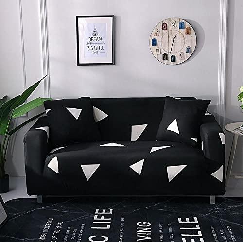 Funda Sofas 2 y 3 Plazas Triángulo Blanco Negro Fundas para Sofa Universal,Cubre Sofa Ajustables,Fundas Sofa Elasticas,Funda de Sofa Chaise Longue,Protector Cubierta para Sofá
