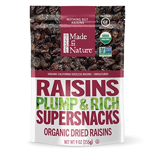 Made In Nature Organic Raisins, 9 Ounce (Pack of 6) - Non-GMO, Unsulfured Vegan Snack