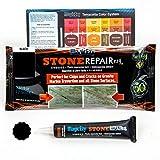 MagicEzy Stone Fix - Kit de reparación de grietas de granito y mármol - Rellena y daña los colores rápidamente (Negro (Black))