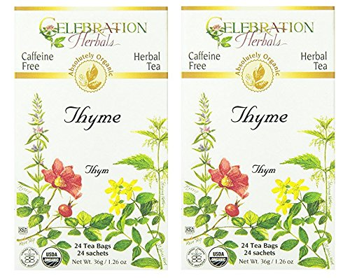 Celebration Herbals Organic Thyme Tea Caffeine Free - 2 Pack (48 Bags Total)