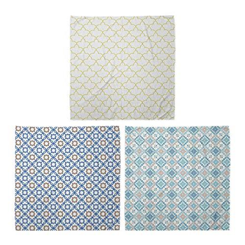 ABAKUHAUS Unisex Bandana, Marokkanischen Stil Form Delfter Blau Tangled Moderne Fliesen, 3er Pack, Mehrfarbig