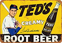 8 x 12 CM メタル サイン - Ted Williams for Ted's Root Beer メタルプレートブリキ 看板 2枚セットアンティークレトロ