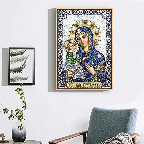 LIZHIOO 5D Pintura De Diamantes Religiosos, Puntada Cruzada Forma De Mosaico De Diamante De Diamante Diamante Bordado De Diamantes De Imitación Decorat (30 × 40 Cm)