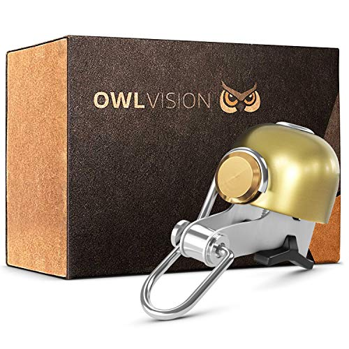 OWL VISION - Hochwertige Fahrradklingel Stylus [universal passend] Fahrrad Klingel Retro sehr klarer Klang - Premium Fahrradglocke Mountainbike Rennrad - MTB & Fahrrad Zubehör Glocke Ring