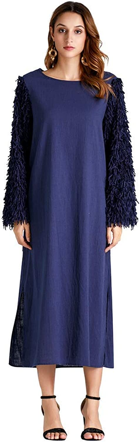 CARRY Dress, Muslim Middle Eastern Style Big Swing Comfortable Soft Long Women's Round Neck Solid color Tassel Long Sleeve Dress (Size   M)