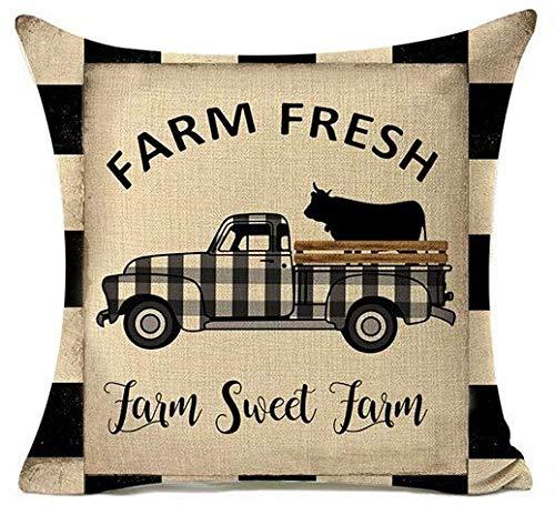 YSHDNDML Farm Sweet Farm Buffalo Plaid Vintage Camion Cuscino Rotondo Anno Federa Vintage Cuscino Country federe Stile Fattoria