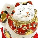Giapponese Maneki Neko mano destra Lucky Cat Kutani ceramica