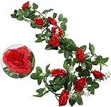 CattleyaHQ 2 Stück Rose Rebe,künstliche Rose Reben mit 10 Köpfen,Simulation Blume Rose Rattan,gefälschte Rose Blumen für Hochzeitsfeier