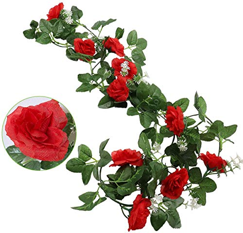 2 Rose rampicanti Artificiali, con 10 Teste, Foglie Verdi, rampicanti in Seta Rossa, Romantica Ghirlanda di Rose Artificiali da Appendere, Decorazione per casa, Giardino, Festa di Nozze Red