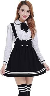 Womens Japanese High School Uniform Sailor Pleated Skirt Outfit