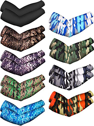 Mudder 9 Pairs Unisex UV Protection Sleeves Arm Cooling Sleeves Ice Silk Arm Sleeves Arm Cover Sleeves (Camouflage, Black)