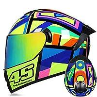 オートバイフルフェイスヘルメット男性女性大人のバイクモジュラークラッシュヘルメット軽量モトクロスヘルメットDOT/ECE承認済み四季フルフェイスレーシングオートバイヘルメット F,XL