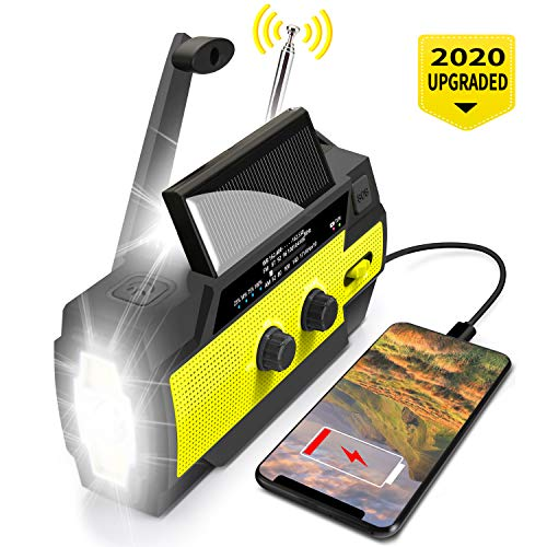 Emergency Flashlight Radio, 2020 Upgraded AM/FM/NOAA Weather Solar Crank Radio with 4000 mAh Replaceable Li-ion Battery, 3 Modes Flashlight,Sensor Reading Lamp,Phone Charger for Hurricanes, Tornadoes