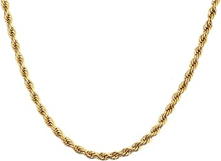 SUNXN 18K Real Gold Plated Rope Chain Necklace Stainless Steel Necklace Chains for Women Men Boys Jewelry