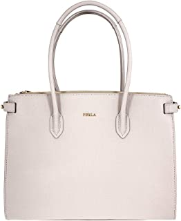 Pin Ladies Medium White Perla Textured Leather Tote 977686