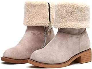 EROUGE Women's Winter Snow Boots Warm Mid-Calf Ankle Boots Suede Chunky Block Heel Round Toe Faux Fur Outdoor Shoes