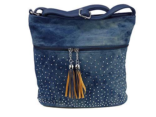Süße Jeans Style Umhängetasche mit 2 Troddeln und kleinen Steinchen/Nieten - Glitzereffekt - Maße ohne Henkel 29x25x12 cm - Damen Mädchen Teenager Tasche - Used Look Style (blau)