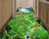 Papel pintado 3D para pisos con estética creativa avanzada y creativa, diseño mágico del bosque de camino tres, pintura dimensional