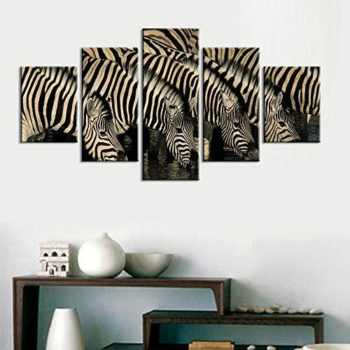tong99 muurkunst hd print hoofddecoratie zebra 5 stuks dierenlinnen schilderij modulair nachtachtergrondfoto-grafische affiche L-30x40 30x60 30x80cm Geen lijst
