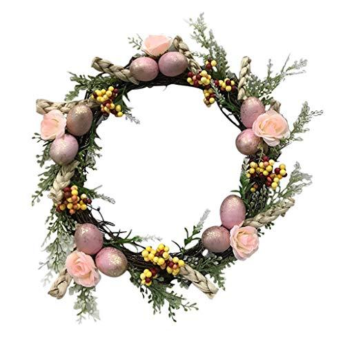 GREEN&RARE Corona de puerta frontal, anillo de hierro, corona de huevo de Pascua, con flores artificiales y hojas verdes, decoración del hogar