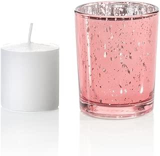 Yummi Set of 36 10 hour Votive Candles & Metallic Holders, Pink Metallic