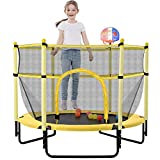 60' Trampoline for Kids, Outdoor & Indoor 5ft Recreational Trampoline with Enclosure, Basketball Hoop, Birthday Gifts for Kids, Boy and Girl, Age 1-8 Years Old. (Yellow)