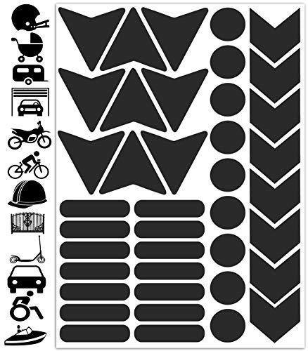 Biomar Labs® 40pcs Negro Kit de Pegatina Cinta de Advertencia Reflectiva Reflectante Vinilo Adhesivo Coches Cascos Motos Ciclomotores Bicicletas Ordenador Portátil D 46