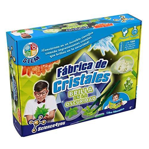 Science4you-Fábrica Fábrica de Cristales Brilla en la Oscuridad para Niños +8 Años, Multicolor, GID (Science 4 you 611764)